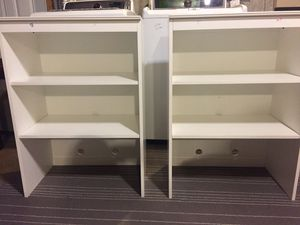 two solid White wood adjustable bookshelves for Sale in Lowell, MA