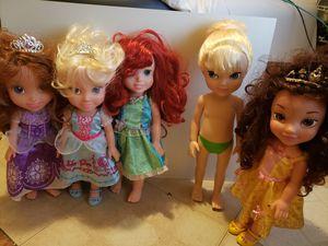 5 Disney Princess Prince Animator Doll Lot Cinderella Bella Ariel Tinkerbell Sofia. for Sale in Hyattsville, MD