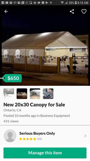 New 20x30 Canopy for Sale for Sale in Norco, CA