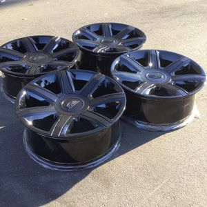 "22 Factory Original OEM Cadillac Escalade Black 22"" Wheels Black Inserts Tahoe Silverado Yukon ESV platinum Installation for Sale in Yorba Linda, CA"