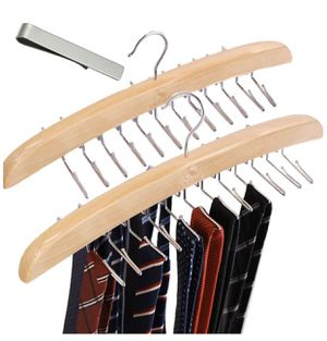 Tie Rack Hanger Holder Hooks Organizer 2 Set Wooden Blet Hangers Homewares Closet Accessories Organizers for Sale in Las Vegas, NV
