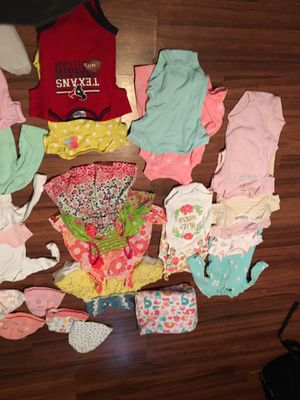 Baby girl clothes bundle hats blankets towels bibs socks onies for Sale in Houston, TX