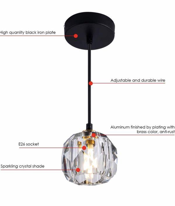 Modern Crystal Island Pendant Lighting Mini Vintage Glass Foyer Chandelier Contemporary 1-Light Soccer Ball Shape Ceiling Hanging Lights Fixture for