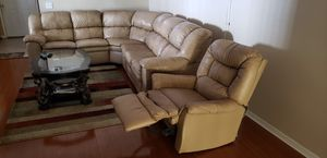 Real leather sectional couch with sofa chair for Sale in Orlando, FL