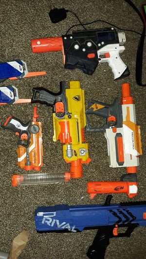 5 nerd guns 1 attachment 2 walkie talkies for Sale in Quincy, IL