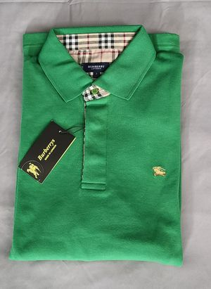 Last 3 pieces!! Burberry mens long sleeve polo shirt Green M, L, XXL. for Sale in Oakland Park, FL