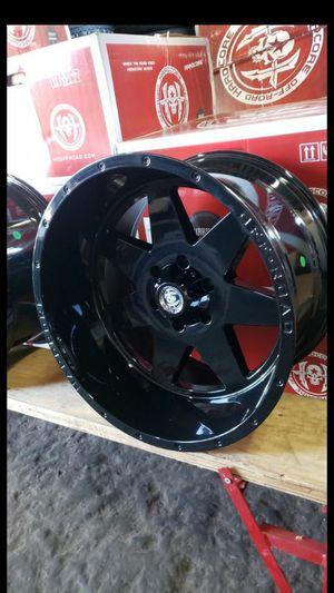 20x12 black hardcore offroad rims 6 lug 6x139 whit New MUD tires 33 1250 20 for Sale in Phoenix, AZ