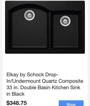 Elkay by Schock Drop-In/Undermount Quartz Composite 22 in. X 33 in. Double Basin Kitchen Sink in Black for Sale in Tempe, AZ