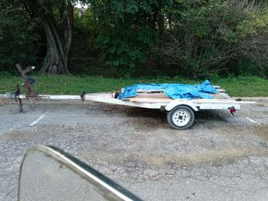 17' boat trailer w/ 2 4'×8' plywood sheets bolted down for option of flat bed cargo trailer. New wheels and barings, lighting and hitch. for Sale in Annapolis, MD