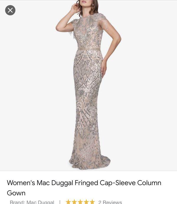 Mac Duggal Fringe cap-Sleeve Column
