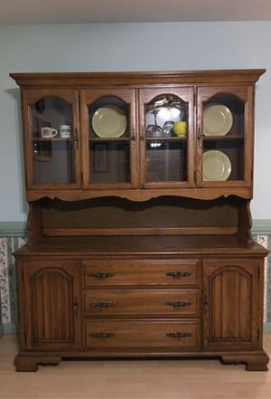 Wooden hutch with groves for plates and silverware rack for Sale in Old Bridge, NJ