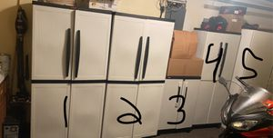 Garage Storage Cabinets 4 plastic 1 wooden Great condition for Sale in Howell Township, NJ