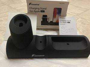 Newest Apple Watch Stand, 3 in 1 Silicone Charger Dock Station for Apple Watch Series 4/3/2/1/AirPods/iPhone X/iPhone 8/8 Plus/7 Plus/6S, Magnetic an for Sale in El Cajon, CA