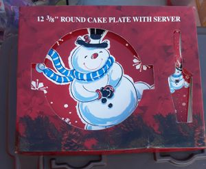 New Christmas plate with cake/pie cutter for Sale in Virginia Beach, VA