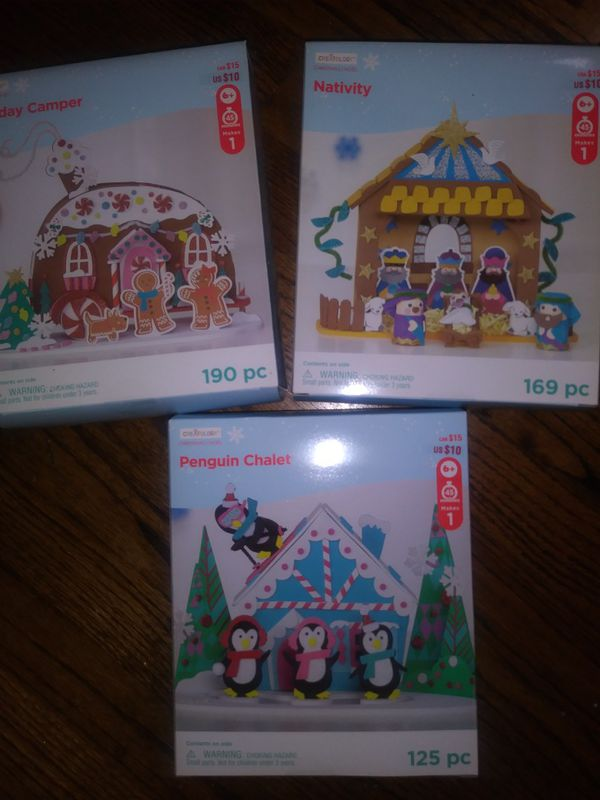 Christmas crafts 4 kids(3 boxes): Nativity, Penguin Chalet and Gingerbread camper