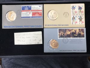 USA Gold Color Coin Bicentennial First Day Covers Stamps 1974, 75, 76 3 Sets 1974 Has A Tear for Sale in Upland, CA