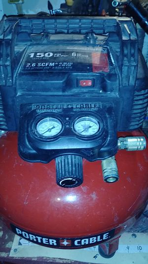 6 gallon porter cable air compressor works great!!$65 for Sale in Cleveland, OH