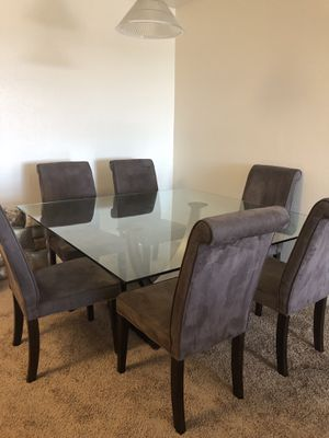 Italian Glass Table Set with 6 Suade Chairs for Sale in San Diego, CA