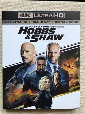 "Movie ""Hobbs & Shaw"" 4K UltraHd + Bluray + Digital for Sale in Norwalk, CA"