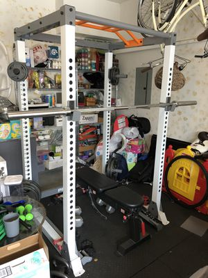Squat rack, weights, bench and floor mats for home gym for Sale in Torrance, CA