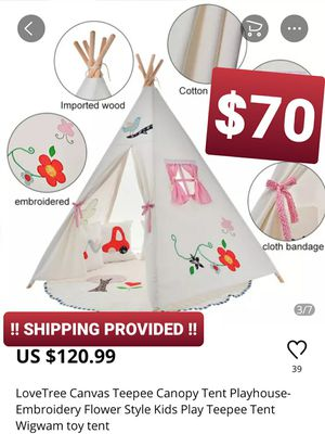 LoveTree Canvas Teepee Canopy Tent Playhouse-Embroidery Flower Style for Sale in Chino, CA