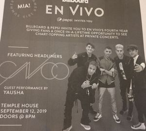 CNCO with Yausha Private Concert @ Temple House Miami Beach 9/12 for Sale in Cape Coral, FL