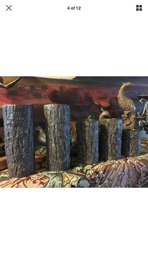 Hosley Set of 5 Ceramic Wooden Log Look Pillar Candle Holders Stand Home Decor for Sale in Bloomington, CA