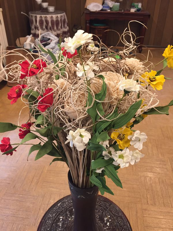 Flowers and Wood vase