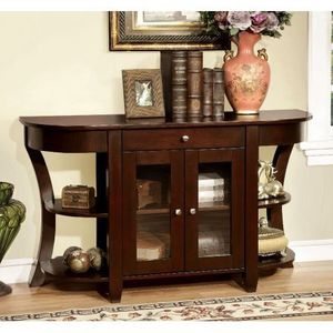 Title:Furniture Of America Newell Dark Cherry Finish Two Door Entryway Console Table Description:Brand Furniture of America Transitional Style Drawe for Sale in Houston, TX