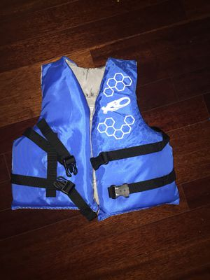 Kids life vest blue baby vest life jacket swim suit boat kayak canoe baby clothes kids clothes shoeshiner toys ship helicopter dinosaurs Disney table for Sale in Tampa, FL