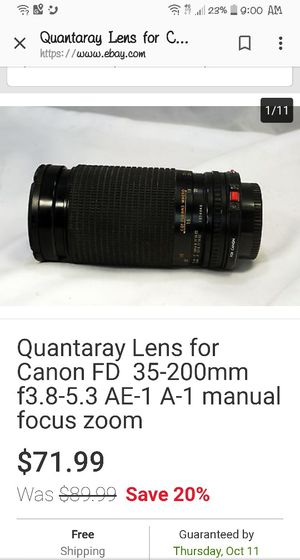Quantaray lens lens for Canon FD 35-200mm f3.8-3 AE-1 A-1 manual focus zoom new never used with case for Sale in Kingsport, TN
