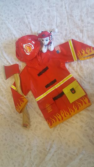 3T Fireman Raincoat/costume w/Axe and Puppy Plush for Sale in Fort Walton Beach, FL