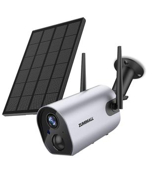 Zumimall Wireless Outdoor Security WiFi Camera, Solar Powered Rechargeable Battery Surveillance Camera, 1080P Home Security Camera, Night Vision, Two for Sale in Brooklyn, NY