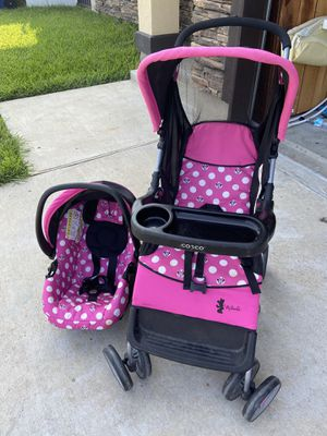 Minnie Mouse hot pretty in pink Costo stroller and car seat. for Sale in Laredo, TX