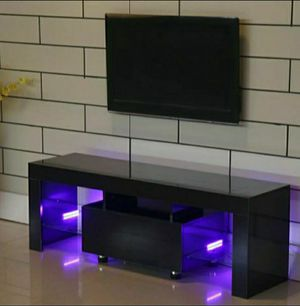 Modern High Gloss TV stand/ Entertainment stand/ TV console/Wall unit/Soporte TV with L.E.D lights shelves. *SAME DAY DELIVERY AVAILABLE* for Sale in Fort Lauderdale, FL