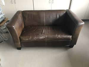 (2) Brown Leather Couches for Sale in Patterson, CA