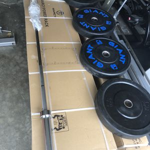 New squat rack, two pairs of bumper plates, new Barbell, for Sale in Edgewood, WA