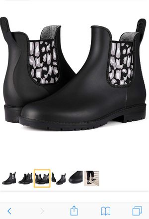 Women Short Rain Boots, Waterproof Chelsea Ankle Fashion Boots with Elastic Prints size 8 for Sale in Shawnee Hills, OH