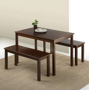 3 Piece Set Dining Table with Two Benches, Espresso for Sale in ROWLAND HGHTS, CA