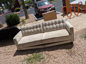 Tan couch fold-out to bed for Sale in Tempe, AZ