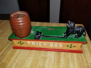 Vintage Cast Metal Trick Dog Mechanical Bank - Missing Clown for Sale in Springfield, OR