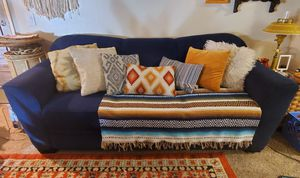 Pretty Blue Cloth Sofa with Pull out Bed for Sale in Phoenix, AZ