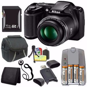 Nikon COOLPIX L340 Digital Camera (Black) (International Model No Warranty) + 4 AA Pack NiMH Rechargeable Batteries and Charger + 16GB SDHC Card + Ca for Sale in Dallas, TX