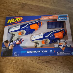 *NEW* Nerf N-Strike Elite Disruptor 6 Dart Rapid Fire Nerf Gun Blaster Shoots 90 ft! (Twin Pack) for Sale in Sunnyvale, CA