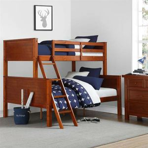Your Zone Wood Twin over Full Bunk Bed New in Box (Walnut) for Sale in Las Vegas, NV