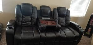 Black leather media couch for Sale in Litchfield Park, AZ