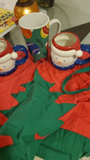 Christmas mugs and apron for Sale in Stuart, FL