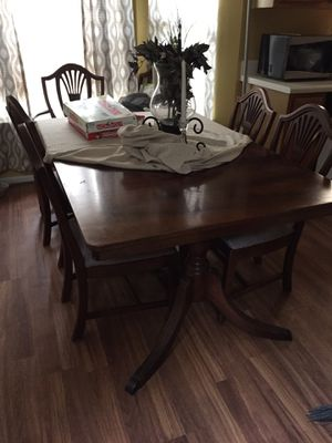 Antique dinning room table with cabinet and China for Sale in Boiling Springs, SC