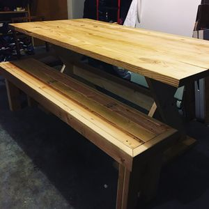 Custom Farmhouse Table with Bench - Dining Table - for Sale in Tampa, FL