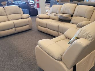 Power Reclining Sofa, Loveseat, And Recliner. Genuine Top Grain Leather! Avaliable Now!!! for Sale in Saint Ann,  MO